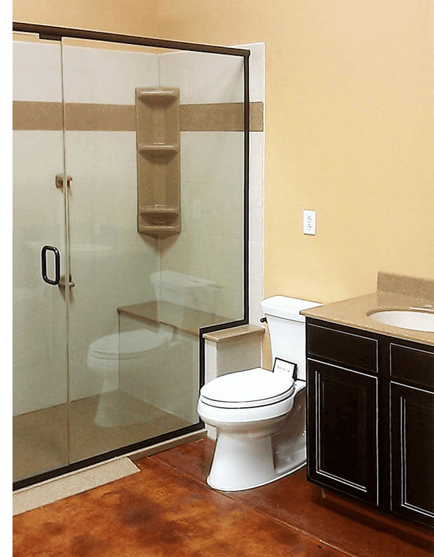 Handicap accessible shower toilet and sink aging in place